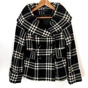 Zara Basic Plaid Pea Coat